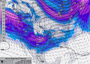 500 mb forecast heights for 00 UTC on 15 April 2011