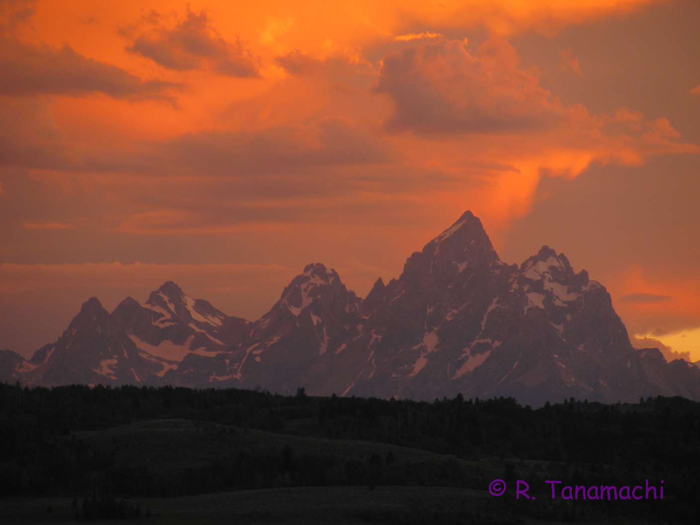 Sunset over the Grand Tetons