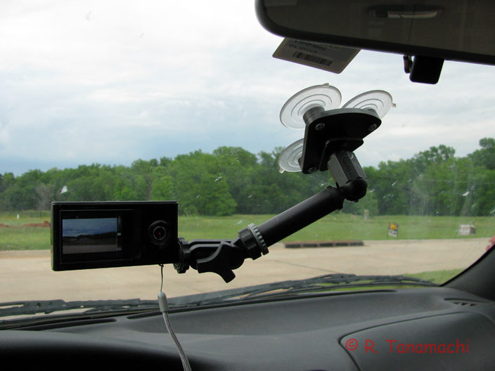 The 4.2-oz. Bloggie holds fast to my windshield with a standard 3-suction cup mount.