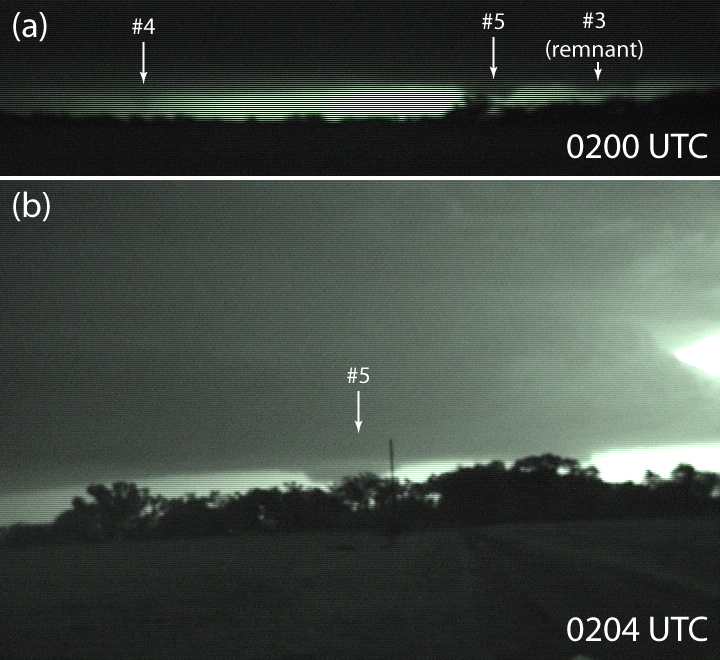 The Greensburg tornado (#5) illuminated by lightning. These are frame grabs from my handheld video.