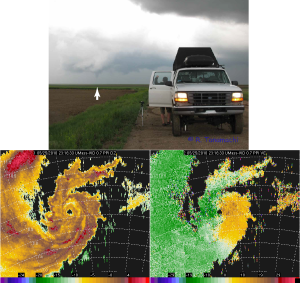 Top: W-band radar truck with Tribune tornado, and data collected.