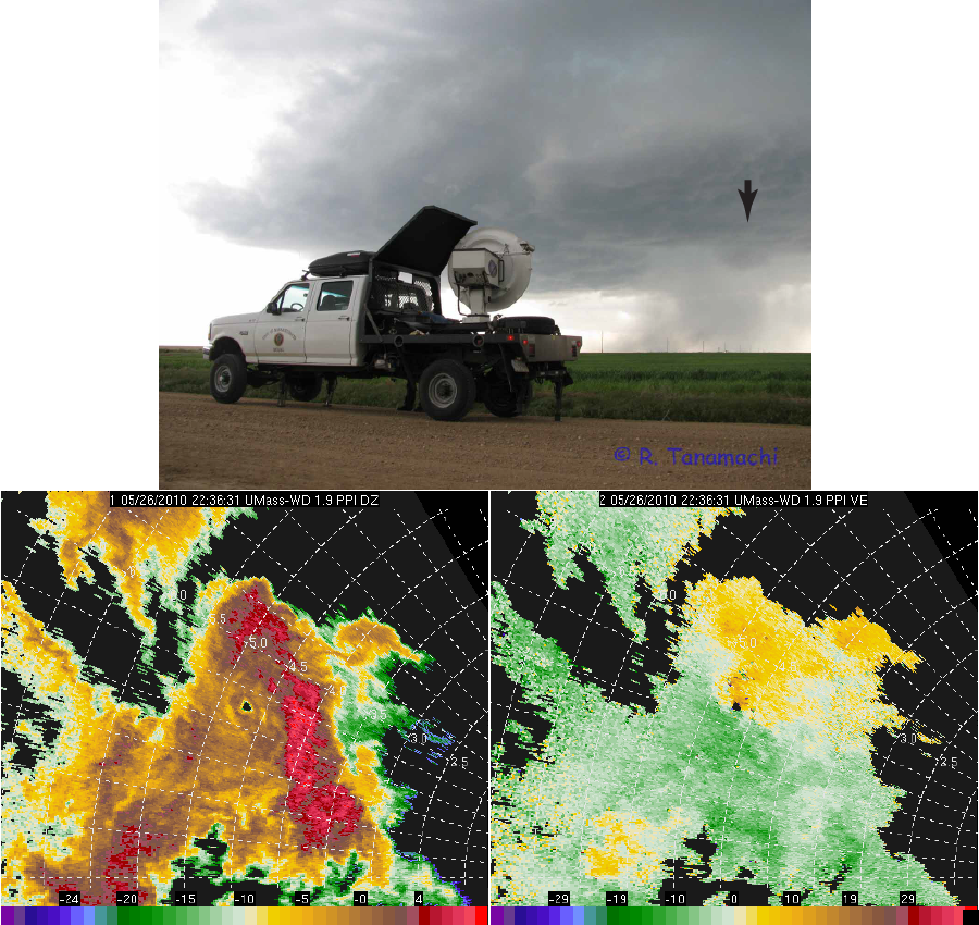 Top: W-band radar truck under Colorado supercell. Bottom: W-band radar data collected in a vortex near the tip of the hook.