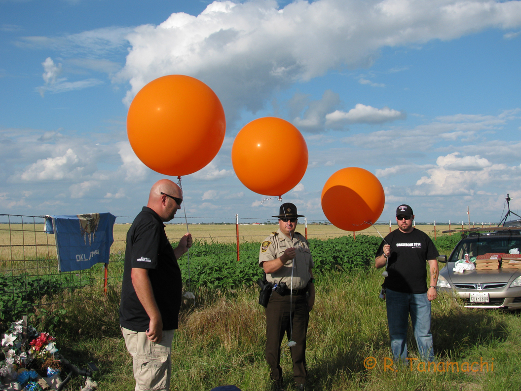 Preparing for the balloon release.