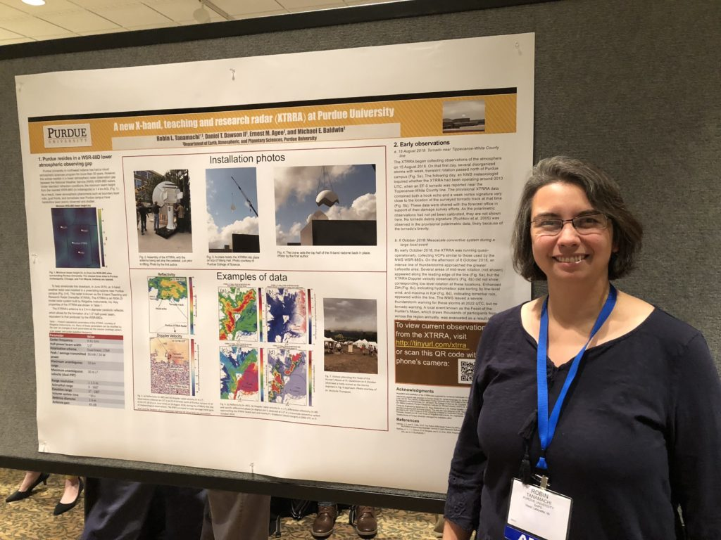 Robin presenting a poster about Purdue's new radar at the 2018 AMS Severe Local Storms Conference in Stowe, Vermont.